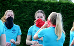SOUTHAMPTON, ENGLAND - July 01: Rachel Panting(L) and Lucia Kendall(R)  during Southampton women's first pre season training session at Staplewood training ground on July 01, 2021 in Southampton, England. (Photo by Isabelle Field/Southampton FC via Getty Images)