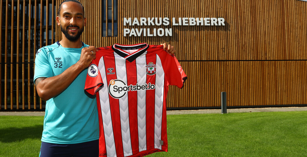 SOUTHAMPTON, ENGLAND - JULY 07: Theo Walcott after signing permanently with Southampton FC, pictured at the Staplewood Campus on July 07, 2021 in Southampton, England. (Photo by Matt Watson/Southampton FC via Getty Images)