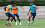SOUTHAMPTON, ENGLAND - JULY 07: Mohammed Salisu(L) and Yan Valery during a Southampton FC pre-season training session at The Staplewood Campus on July 07, 2021 in Southampton, England. (Photo by Matt Watson/Southampton FC via Getty Images)