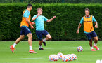 SOUTHAMPTON, ENGLAND - JULY 08: James Ward-Prowse(centre) during a Southampton FC pre season training session at the Staplewood Campus on July 08, 2021 in Southampton, England. (Photo by Matt Watson/Southampton FC via Getty Images)