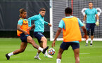 SOUTHAMPTON, ENGLAND - JULY 08: Mario Lemina(L) and Shane Long during a Southampton FC pre season training session at the Staplewood Campus on July 08, 2021 in Southampton, England. (Photo by Matt Watson/Southampton FC via Getty Images)