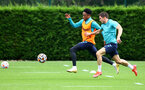 SOUTHAMPTON, ENGLAND - JULY 08: Kyle Walker-Peters(L) and Romain Perraud during a Southampton FC pre season training session at the Staplewood Campus on July 08, 2021 in Southampton, England. (Photo by Matt Watson/Southampton FC via Getty Images)