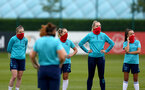 SOUTHAMPTON, ENGLAND - July 08: Ella Pusey(L), Shelly Provan, Kayla Rendell and Sophia Pharoah(R) during Southampton Women's per season training session at Staplewood training ground on July 08, 2021 in Southampton, England. (Photo by Isabelle Field/Southampton FC via Getty Images)