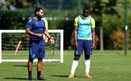 SOUTHAMPTON, ENGLAND - July 14: Carl Martin(L) academy coach and Leon Pambou(R) during Southampton U18s per season training session at Staplewood training ground on July 14, 2021 in Southampton, England. (Photo by Isabelle Field/Southampton FC via Getty Images)