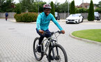 SOUTHAMPTON, ENGLAND - JULY 15: Nathan Tella during team building cycle ride around Deerleap, New Forest on July 15, 2021 in Southampton, England. (Photo by Isabelle Field/Southampton FC via Getty Images)