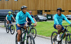 SOUTHAMPTON, ENGLAND - JULY 15: Yan Valery(L) and Mario Lemina(R) during team building cycle ride around Deerleap, New Forest on July 15, 2021 in Southampton, England. (Photo by Isabelle Field/Southampton FC via Getty Images)