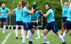 SOUTHAMPTON, ENGLAND - JULY 15: Kirsty Whitton(L) and Shannon Sievwright(R) during Southampton Women's per-season training session at Staplewood Complex on July 15, 2021 in Southampton, England. (Photo by Isabelle Field/Southampton FC via Getty Images)