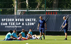 SOUTHAMPTON, ENGLAND - JULY 16:  Mohammed Salisu(L), Mohamed Elyounoussi, Oriol Romeu and Romain Perraud(R) during pre-season training session at Staplewood Complex on July 16, 2021 in Southampton, England. (Photo by Isabelle Field/Southampton FC via Getty Images)