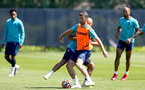 SOUTHAMPTON, ENGLAND - JULY 16: Nathan Redmond (L) and Shane Long(R) during pre-season training session at Staplewood Complex on July 16, 2021 in Southampton, England. (Photo by Isabelle Field/Southampton FC via Getty Images)