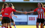 SOUTHAMPTON, ENGLAND - July 20: Ella Pusey(L) and Leeta Rutherford(R) of Southampton during per-season friendly between Saints Women and Southampton Women Development team at The Snows Stadium on July 20, 2021 in Southampton, England. (Photo by Isabelle Field/Southampton FC via Getty Images)