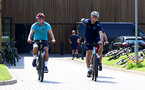 SOUTHAMPTON, ENGLAND - JULY 21: James Ward-Prowse(L) and Team Doctor Inigo Sarriegui during a pre season day of cycling around The New forest, July 21, 2021 in Southampton, England. (Photo by Matt Watson/Southampton FC via Getty Images)