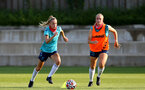 SOUTHAMPTON, ENGLAND - July 21: Phoebe Williams(L) and Catilin Morris(R) during Southampton Women's pre-season training at Staplewood Training Ground on July 21, 2021 in Southampton, England. (Photo by Isabelle Field/Southampton FC via Getty Images)