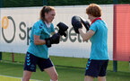 SOUTHAMPTON, ENGLAND - July 21: Rachel Panting(L) and Molly Mott(R) during Southampton Women's pre-season training at Staplewood Training Ground on July 21, 2021 in Southampton, England. (Photo by Isabelle Field/Southampton FC via Getty Images)