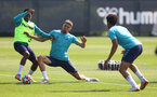 SOUTHAMPTON, ENGLAND - JULY 22: Kyle Walker-Peters(L) and Jan Bednarek during a Southampton FC pre season training session at The Staplewood Campus on July 22, 2021 in Southampton, England. Photo by Matt Watson/Southampton FC via Getty Images