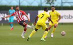 SOUTHAMPTON, ENGLAND - JULY 24: Jack Stephens of Southampton during a pre-season friendly match between Southampton FC and Fulham at The Staplewood Campus on July 24, 2021 in Southampton, England. Photo by Matt Watson/Southampton FC via Getty Images