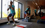 CARDIFF, WALES - JULY 28: Yan Valery(L) and Theo Walcott during a Southampton FC pre-season recovery session at The Vale Resort, Vale of Glamorgan on July 28, 2021 in Cardiff, Wales. Photo by Matt Watson/Southampton FC via Getty Images