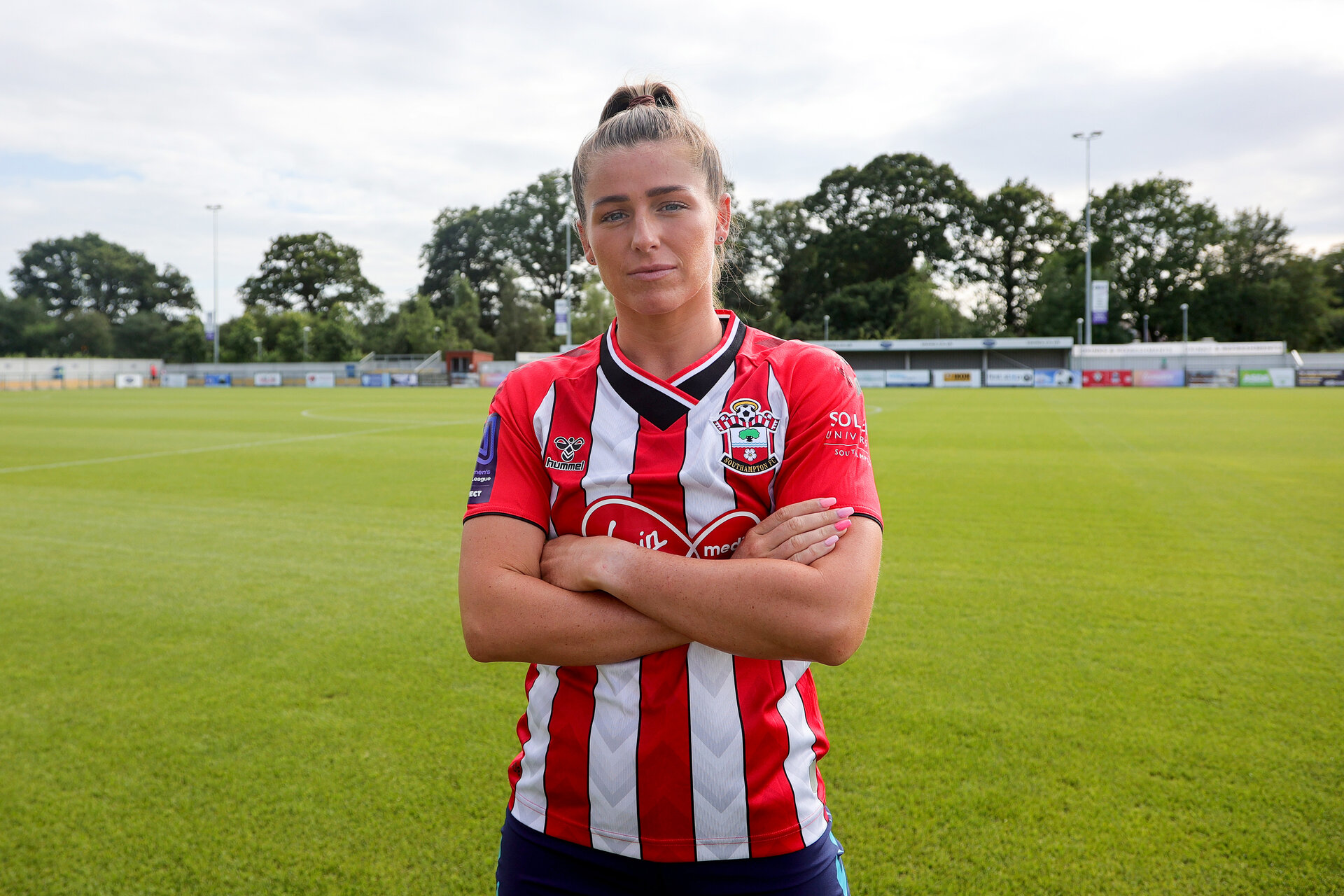 SOUTHAMPTON, ENGLAND - JULY 29:  Ciara Sherwood signing a new contract with Southampton Women's team photographed at Snows Stadium on July 29, 2021 in Southampton, England. (Photo by Isabelle Field/Southampton FC via Getty Images)