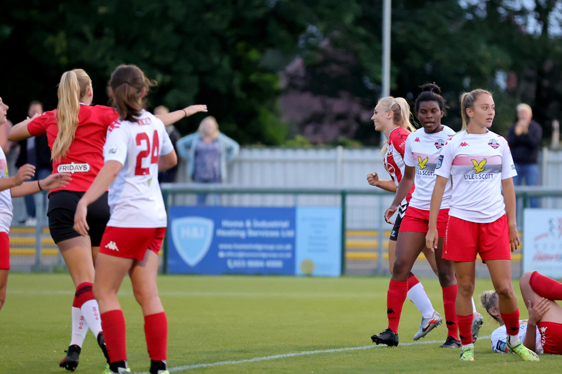 SOUTHAMPTON, ENGLAND - JULY 29: Rosie Parnell of Southampton goal celebration during pre season friendly match between Southampton Women's Team and Lewes FC at Snows Stadium on July 29, 2021 in Southampton, England. (Photo by Isabelle Field/Southampton FC via Getty Images)