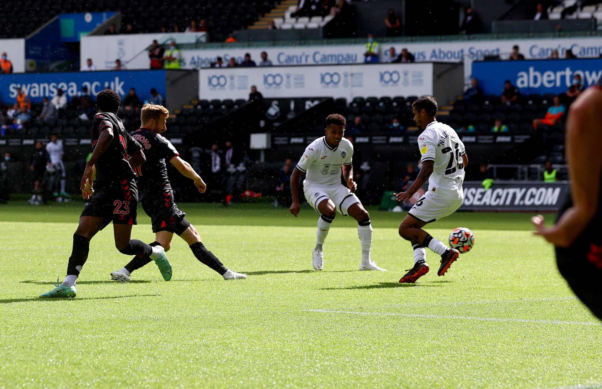 SWANSEA, WALES - JULY 31: Stuart Armstrong of Southampton scores his teams third goal during the pre-season friendly match between Swansea City and Southampton FC, at The Liberty Stadium on July 31, 2021 in Swansea, Wales. (Photo by Matt Watson/Southampton FC via Getty Images)