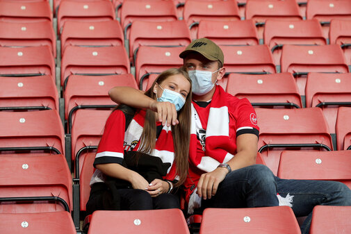 SOUTHAMPTON, ENGLAND - AUGUST 04: fans during pre-season friendly between Southampton and Levante at St Mary's Stadium on August 04, 2021 in Southampton, England. (Photo by Isabelle Field/Southampton FC via Getty Images)