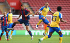SOUTHAMPTON, ENGLAND - AUGUST 04: Oriol Romeu(R) of Southampton during the pre season friendly match between Southampton FC and Levante at St Mary's Stadium on August 04, 2021 in Southampton, England. (Photo by Matt Watson/Southampton FC via Getty Images)