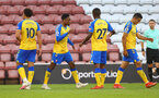 SOUTHAMPTON, ENGLAND - AUGUST 04: Kyle Walker-Peters(centre) of Southampton after scoring during the pre season friendly match between Southampton FC and Levante at St Mary's Stadium on August 04, 2021 in Southampton, England. (Photo by Matt Watson/Southampton FC via Getty Images)