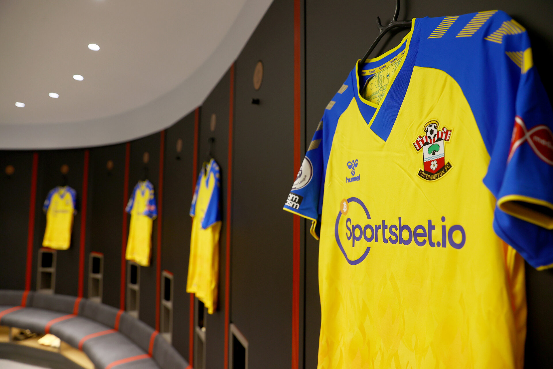 SOUTHAMPTON, ENGLAND - AUGUST 04: The Southampton FC away shirt pictured in the dressing room ahead of the pre season friendly match between Southampton FC and Levante at St Mary's Stadium on August 04, 2021 in Southampton, England. (Photo by Matt Watson/Southampton FC via Getty Images)