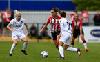 SOUTHAMPTON, ENGLAND - AUGUST 15: Sophia Pharoah(center) of Southampton during the FA Women's National League Southern Premier match between Southampton Women's and MK Dons Ladies at Snow's Stadium on August 15, 2021 in Southampton, England. (Photo by Isabelle Field/Southampton FC via Getty Images)