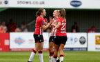 SOUTHAMPTON, ENGLAND - AUGUST 15: Lucia Kendall(L) of Southampton celebrates scoring her second of the match during the FA Women's National League Southern Premier match between Southampton Women's and MK Dons Ladies at Snow's Stadium on August 15, 2021 in Southampton, England. (Photo by Isabelle Field/Southampton FC via Getty Images)