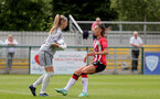 SOUTHAMPTON, ENGLAND - AUGUST 15: Laura Rafferty(R) of Southampton during the FA Women's National League Southern Premier match between Southampton Women's and MK Dons Ladies at Snow's Stadium on August 15, 2021 in Southampton, England. (Photo by Isabelle Field/Southampton FC via Getty Images)
