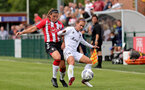 SOUTHAMPTON, ENGLAND - AUGUST 15: Shannon Sievwright(L) of Southampton during the FA Women's National League Southern Premier match between Southampton Women's and MK Dons Ladies at Snow's Stadium on August 15, 2021 in Southampton, England. (Photo by Isabelle Field/Southampton FC via Getty Images)