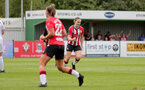 SOUTHAMPTON, ENGLAND - AUGUST 15: Lucia Kendall of goal celebration during the FA Women's National League Southern Premier match between Southampton Women's and MK Dons Ladies at Snow's Stadium on August 15, 2021 in Southampton, England. (Photo by Isabelle Field/Southampton FC via Getty Images)
