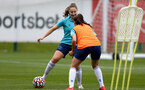SOUTHAMPTON, ENGLAND - AUGUST 17: Ella Morris(L) during Southampton Women's training session at  Staplewood Training Ground on August 17, 2021 in Southampton, England. (Photo by Isabelle Field/Southampton FC via Getty Images)
