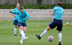 SOUTHAMPTON, ENGLAND - AUGUST 17: Georgie Freeland(L) and Shannon Sievwright(R) during Southampton Women's training session at  Staplewood Training Ground on August 17, 2021 in Southampton, England. (Photo by Isabelle Field/Southampton FC via Getty Images)