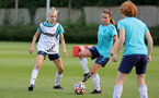 SOUTHAMPTON, ENGLAND - AUGUST 17: Phoebe Williams(L) and Sophia Pharoah(R) during Southampton Women's training session at  Staplewood Training Ground on August 17, 2021 in Southampton, England. (Photo by Isabelle Field/Southampton FC via Getty Images)