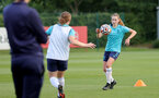SOUTHAMPTON, ENGLAND - AUGUST 17: Alisha Ware(R) during Southampton Women's training session at  Staplewood Training Ground on August 17, 2021 in Southampton, England. (Photo by Isabelle Field/Southampton FC via Getty Images)