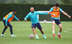 SOUTHAMPTON, ENGLAND - AUGUST 20: L to R Nathan Tella, Nathan Redmond and Tino Livramento during a Southampton FC training session at the Staplewood Campus on August 20, 2021 in Southampton, England. (Photo by Matt Watson/Southampton FC via Getty Images)
