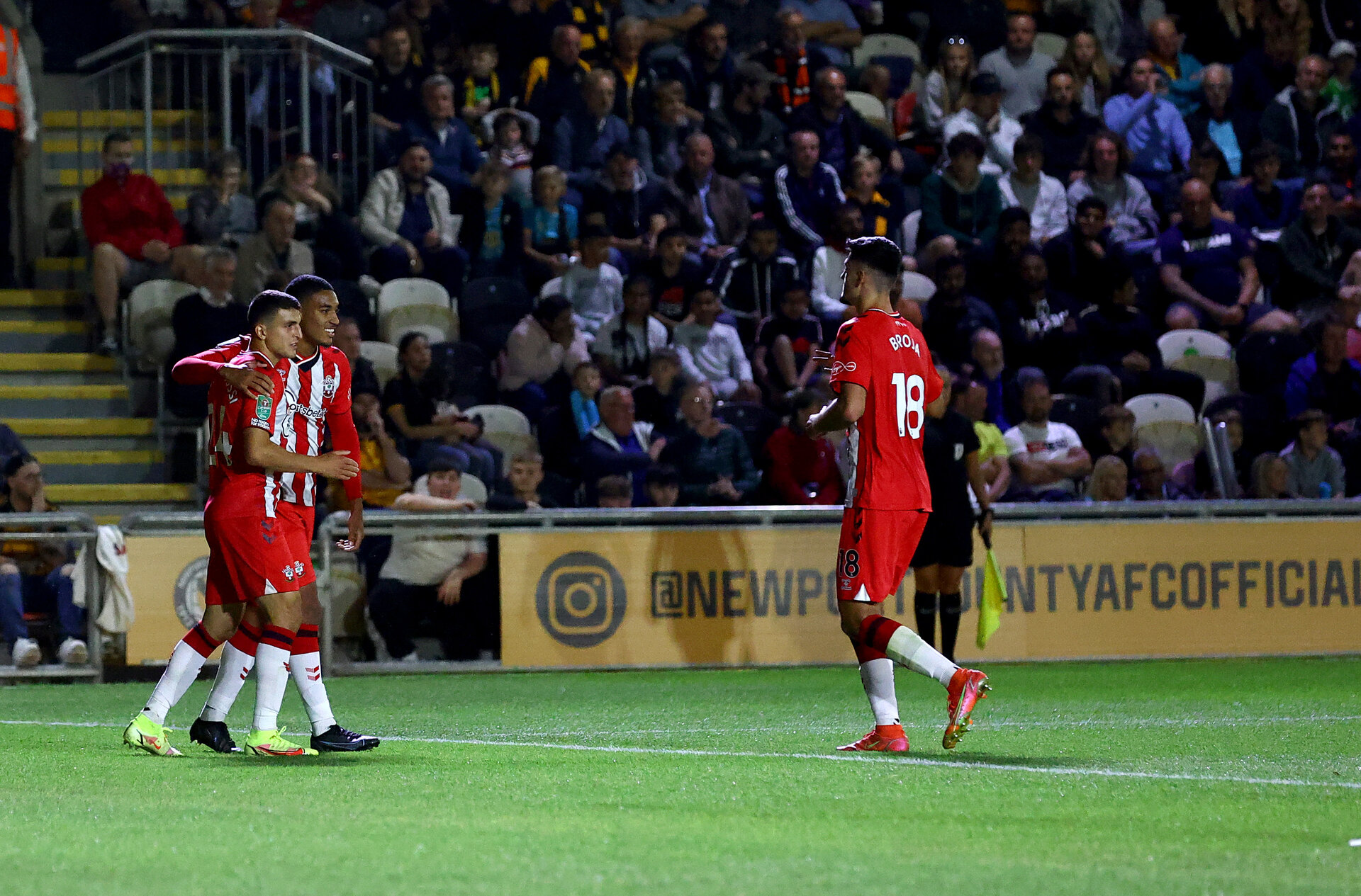 NEWPORT, WALES - AUGUST 25: Mohamed Elyounoussi of Southampton celebrates his teams fifth goal during the Carabao Cup second round match between Newport County and Southampton FC, at Rodney Parade on August 25, 2021 in Newport, Wales. (Photo by Matt Watson/Southampton FC via Getty Images)