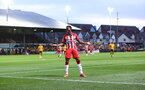NEWPORT, WALES - AUGUST 25: Nathan Tella of Southampton celebrates after scoring the second goal of the game during the Carabao Cup second round match between Newport County and Southampton FC, at Rodney Parade on August 25, 2021 in Newport, Wales. (Photo by Matt Watson/Southampton FC via Getty Images)