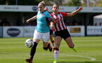 SOUTHAMPTON, ENGLAND - AUGUST 29: Georgie Freeland(R) of Southampton during Women's National League Southern Premier match between Southampton Women and Gillingham at Snows Stadium on August 29, 2021 in Southampton, England. (Photo by Isabelle Field/Southampton FC via Getty Images)