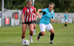 SOUTHAMPTON, ENGLAND - AUGUST 29: Ciara Watling(L) of Southampton during Women's National League Southern Premier match between Southampton Women and Gillingham at Snows Stadium on August 29, 2021 in Southampton, England. (Photo by Isabelle Field/Southampton FC via Getty Images)