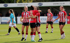 SOUTHAMPTON, ENGLAND - AUGUST 29: Laura Rafferty(L) congratulates Ella Pusey of Southampton on scoring during Women's National League Southern Premier match between Southampton Women and Gillingham at Snows Stadium on August 29, 2021 in Southampton, England. (Photo by Isabelle Field/Southampton FC via Getty Images)