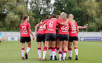 SOUTHAMPTON, ENGLAND - AUGUST 29: Southampton players celebrates with Ella Pusey after scoring penalty during Women's National League Southern Premier match between Southampton Women and Gillingham at Snows Stadium on August 29, 2021 in Southampton, England. (Photo by Isabelle Field/Southampton FC via Getty Images)
