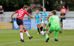 SOUTHAMPTON, ENGLAND - AUGUST 29: Sophia Pharoah(L) of Southampton during Women's National League Southern Premier match between Southampton Women and Gillingham at Snows Stadium on August 29, 2021 in Southampton, England. (Photo by Isabelle Field/Southampton FC via Getty Images)