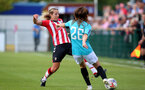 SOUTHAMPTON, ENGLAND - AUGUST 29: Shelly Provan(L) of Southampton during Women's National League Southern Premier match between Southampton Women and Gillingham at Snows Stadium on August 29, 2021 in Southampton, England. (Photo by Isabelle Field/Southampton FC via Getty Images)