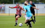 SOUTHAMPTON, ENGLAND - AUGUST 29: Ella Pusey(L) of Southampton during Women's National League Southern Premier match between Southampton Women and Gillingham at Snows Stadium on August 29, 2021 in Southampton, England. (Photo by Isabelle Field/Southampton FC via Getty Images)