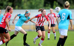 SOUTHAMPTON, ENGLAND - AUGUST 29: Ella Morris(R) of Southampton during Women's National League Southern Premier match between Southampton Women and Gillingham at Snows Stadium on August 29, 2021 in Southampton, England. (Photo by Isabelle Field/Southampton FC via Getty Images)