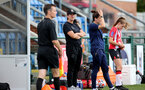 SOUTHAMPTON, ENGLAND - AUGUST 29: Marieanne Spacey-Cale(center) during Women's National League Southern Premier match between Southampton Women and Gillingham at Snows Stadium on August 29, 2021 in Southampton, England. (Photo by Isabelle Field/Southampton FC via Getty Images)