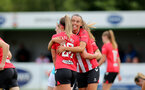 SOUTHAMPTON, ENGLAND - AUGUST 29: Laura Rafferty(R) of Southampton congratulating Ciara Watling(L) on scoring during Women's National League Southern Premier match between Southampton Women and Gillingham at Snows Stadium on August 29, 2021 in Southampton, England. (Photo by Isabelle Field/Southampton FC via Getty Images)