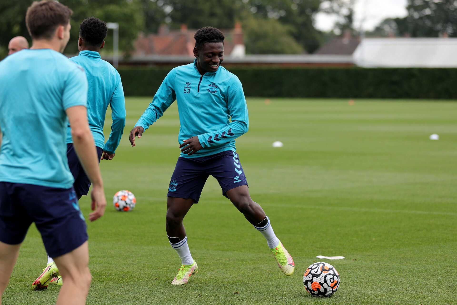 SOUTHAMPTON, ENGLAND - SEPTEMBER 01: Kazeem Olaigbe during Southampton training session at Staplewood Complex on September 01, 2021 in Southampton, England. (Photo by Isabelle Field/Southampton FC via Getty Images)